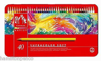 CARAN D'ACHE SUPRACOLOR SOFT TIN of 40 water soluble soft colour pencils