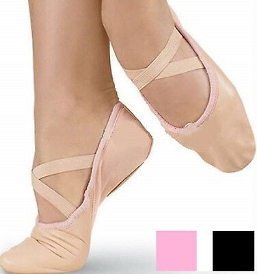 Ballet Leather Dance Shoes Full Sole Shoes With Attached Crossed Elastics