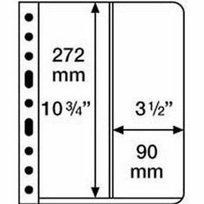 5 VARIO STAMP STOCK SHEETS CLEAR SIDED, 2 VERTICAL POCKET- (272mm x 90mm STRIPS)