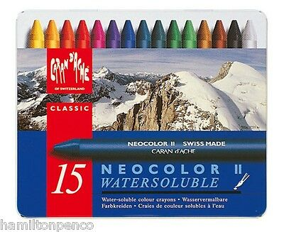 CARAN D'ACHE NEOCOLOR II TIN of 15 water soluble wax pastels