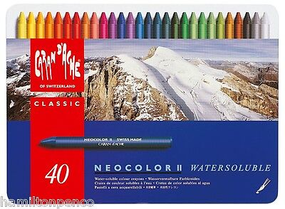 CARAN D'ACHE NEOCOLOR II TIN of 40 water soluble wax pastels