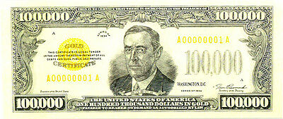 """Tim Prusmack Signed """"100,000 Gold Certificate Currency, 161/250 Mint"""