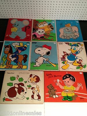 8 Vintage Wood Frame Tray Puzzles Snoopy Dumbo Grover Donad Duck Lil Jack Horner