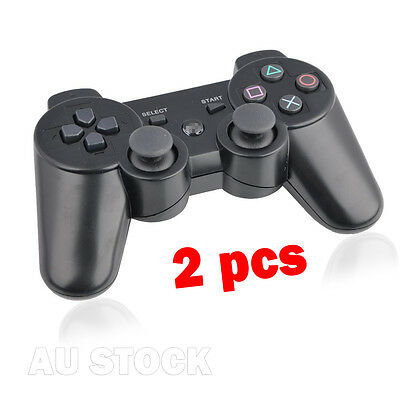 2 x Black Wireless Bluetooth Controller for Sony PS3 Plastation 3 AU Warehouse