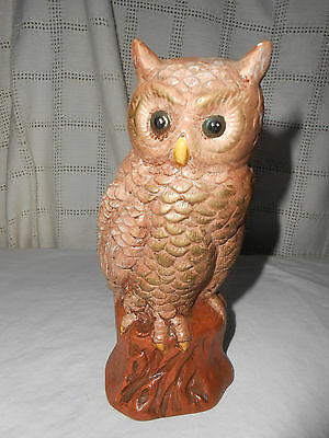 Vintage hand painted chalkware owl bookend, figure