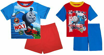 Boys Thomas The Tank Engine Short Pyjamas Shortie Pjs 2 Piece Set Train Kids