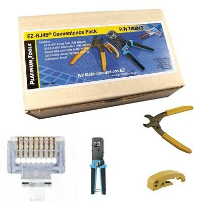 Platinum Tools 100012 EZ-RJ45 Termination Kit (Crimp, Cut, Strip Tools) 50 Cat 5