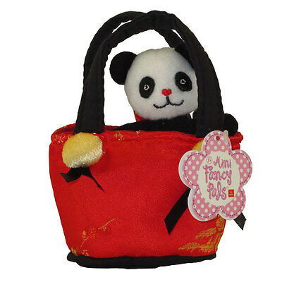 Aurora World Plush - Mini Fancy Pals Pet Carrier - PANDA in Red Asian Print