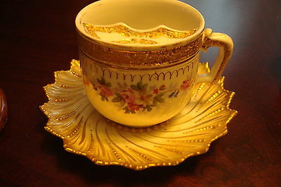 German Antique Mustache Mug with Saucer, gold and flowers