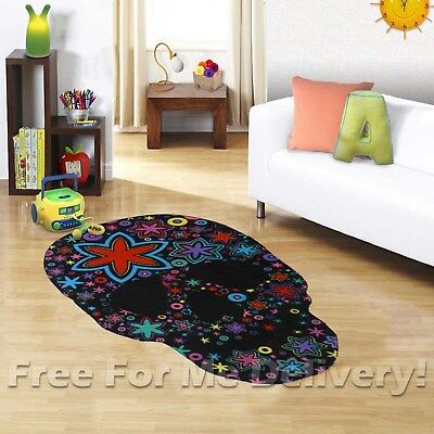 KIDS EXPRESS MEXICAN SUGAR SKULL FUN FLOOR RUG (XS)100x150cm **FREE DELIVERY**