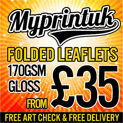 A3 / A4 or A5 Folded Leaflets / Flyers / Menus Printed Full Colour - FROM £35