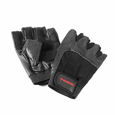 York Leather Weight Lifting Gloves Body Building Power Training Gym Exercise