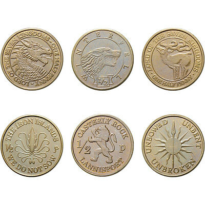 Six Half-Penny Gaming Coins, A Game of Thrones, Licensed by George R. R. Martin