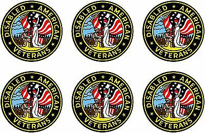 """6 United States Disabled American Veteran Decal Sticker Military 2""""x 2"""" each USA"""