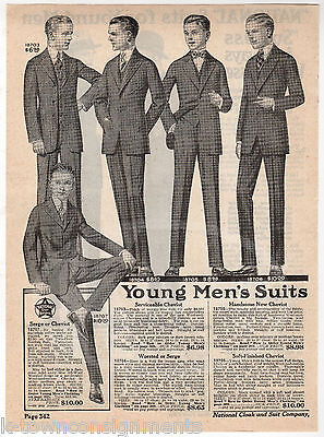 National Cloak & Suit Company Young Mens Fashions Antique Advertising Print