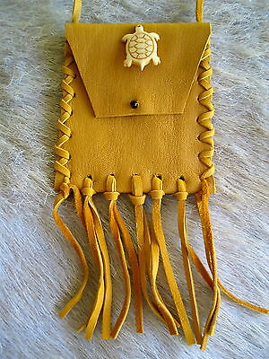 NEW HAND CRAFTED TURTLE COLLECTIBLE LEATHER MEDICINE POUCH FIRST NATIONS