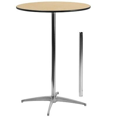 Lot of 10 30'' Round Wood Cocktail Tables Standard & Bar Height Table Columns