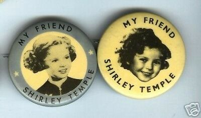 2 my friend SHIRLEY TEMPLE DOLL advertising pins