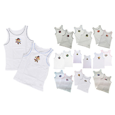 Kids Boys Toddlers 2 Pack Character Underwear Vests Set 100% Cotton Tops Size