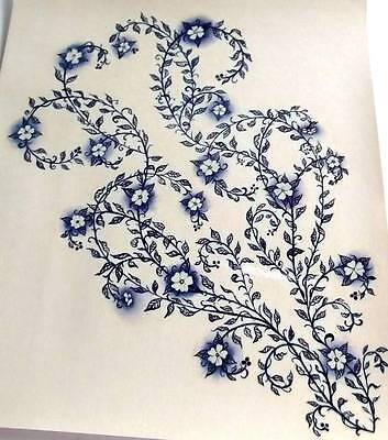 #A127 Ceramic Waterslide Decals 2 LARGE BLUE FLORAL FLOWERS  11""