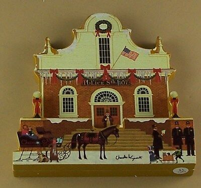 Charles Wysocki's Hometown Christmas ROLL CALL #7 Plate Sculptural Piece Police