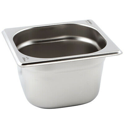 Genware Gastronorm Pan 1/6 One Sixth Size 100mm Deep