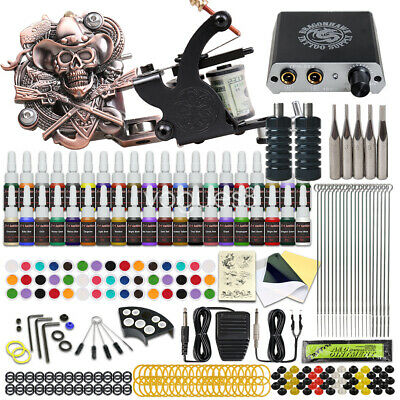 Tattoo Kit 4 Machine Gun 40 Color Ink Power Supply 50 Needles Complete D176VD