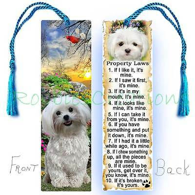 YORKSHIRE TERRIER BOOKMARK Yorkie Dog RULES Property Law Book Art CARD Figurine