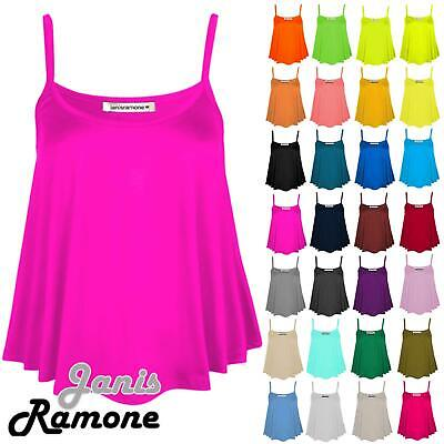 New Womens Plain Sleeveless Swing Strappy Camisole CamiVest Plus Size Flared Top