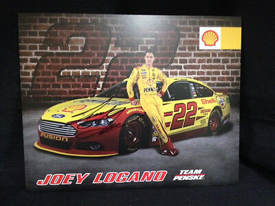 NEW Joey Logano #22 Autographed Signed 8x10 Hero Card Post Card Shell Pennzoil