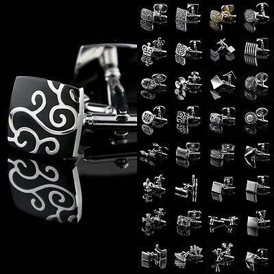 Lot Vintage Mens Stainless Steel Wedding Gift Business Shirt Novelty Cufflinks