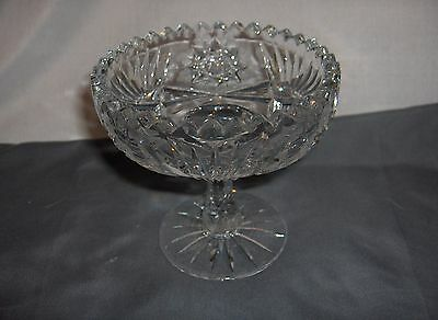 Vintage Cut Glass Crystal American Brilliant Compote Candy Dish Whirling Stars