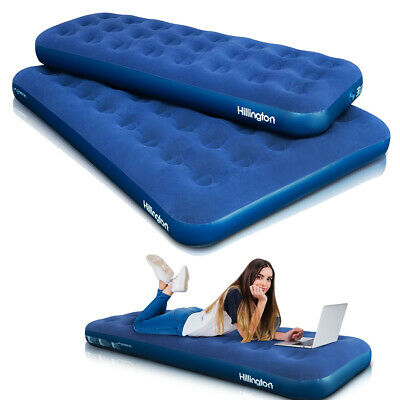 Single/Double Inflatable Airbed Mattress Flocked Airbed Camping Relaxing Luxury