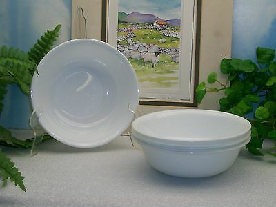 Lot of 4 Corelle Corning Ware WINTER WHITE Frost Cereal Soup Bowls EXCELLENT