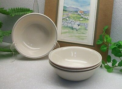 Lot of 4  Corelle Corning Ware Pink ROSE Gray Ring Cereal Soup Salad Bowls