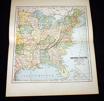 Antique Map 1885 United States Eastern Section