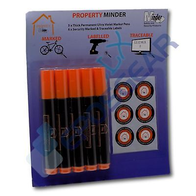 1 Thick 4mm Permanent Ultra Violet Security Property Marker Pen Invisible UV Ink