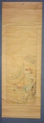 Rare Japanese Antique Hanging Scroll Red Leaves Eboshi Calligraphy Zen