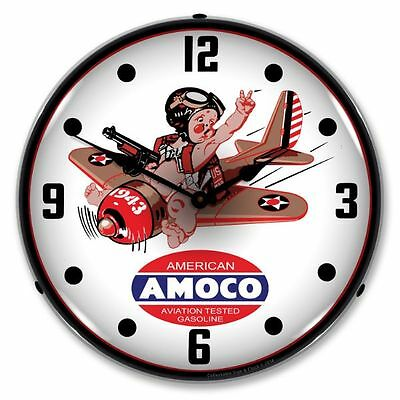 New  Amoco Aviation  Retro Backlit Lighted Clock - Free Shipping* & Handling