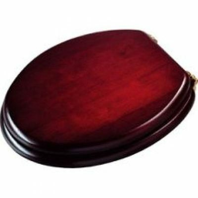 Croydex Mahogany Wooden Toilet Seat With Brass Fittings - Free Postage
