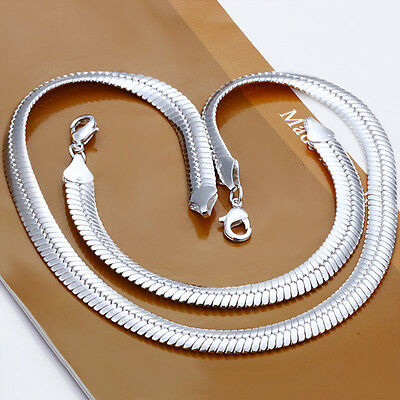 Wholesale 925Sterling Silver Wide Flat Snake Chain Necklace Bracelet 10MM S214