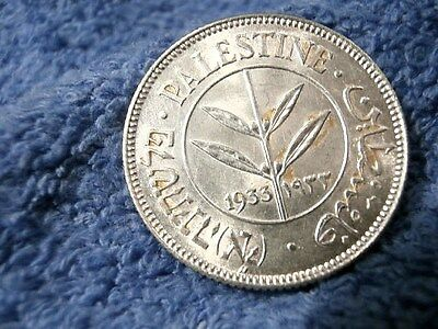Palestine: 1933  Scarce Silver 50 Mils  Uncirculated!!