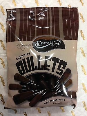 2 X Darrell Lea Liquorice Bullets Dark Chocolate Coated 200g