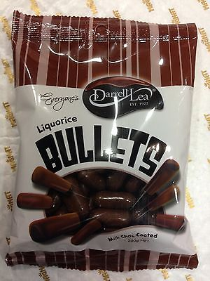 2 X Darrell Lea Liquorice Bullets Milk Chocolate Coated 200g