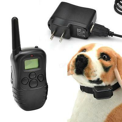 Waterproof 100LV Shock Vibra Remote Rechargeable LCD Pet Dog Training Ring CGYG