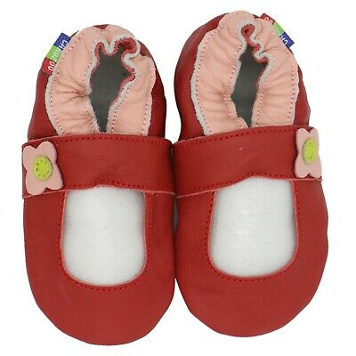 carozoo Mary Jane red 6-12m soft sole leather baby shoes