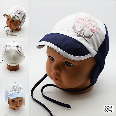 Infant Boys Spring Summer Knit Hat - Toddler Boys Cotton Earflap Lace Up Hat Cap
