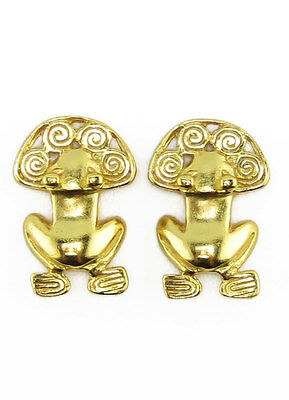 ACROSS THE PUDDLE 24k Gold Plated Pre-Columbian Frog with Spirals Earrings
