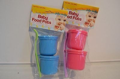 4 Baby Food Pots with Spoon twin Packs BPA Free Pink or Blue  224ml Yum Yum