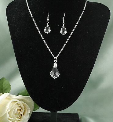 Pretty Bridal Jewellery Earrings & Necklace Made with Swarovski Boroque Pendants